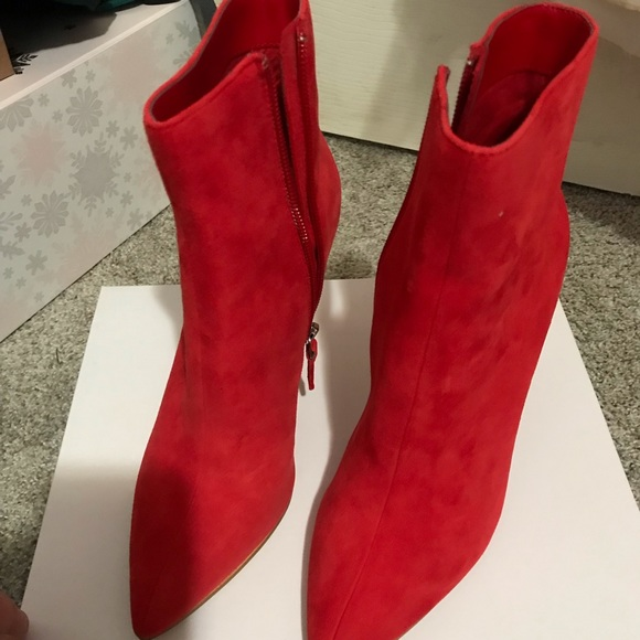 Leith Shoes | Red Suede Leith Booties